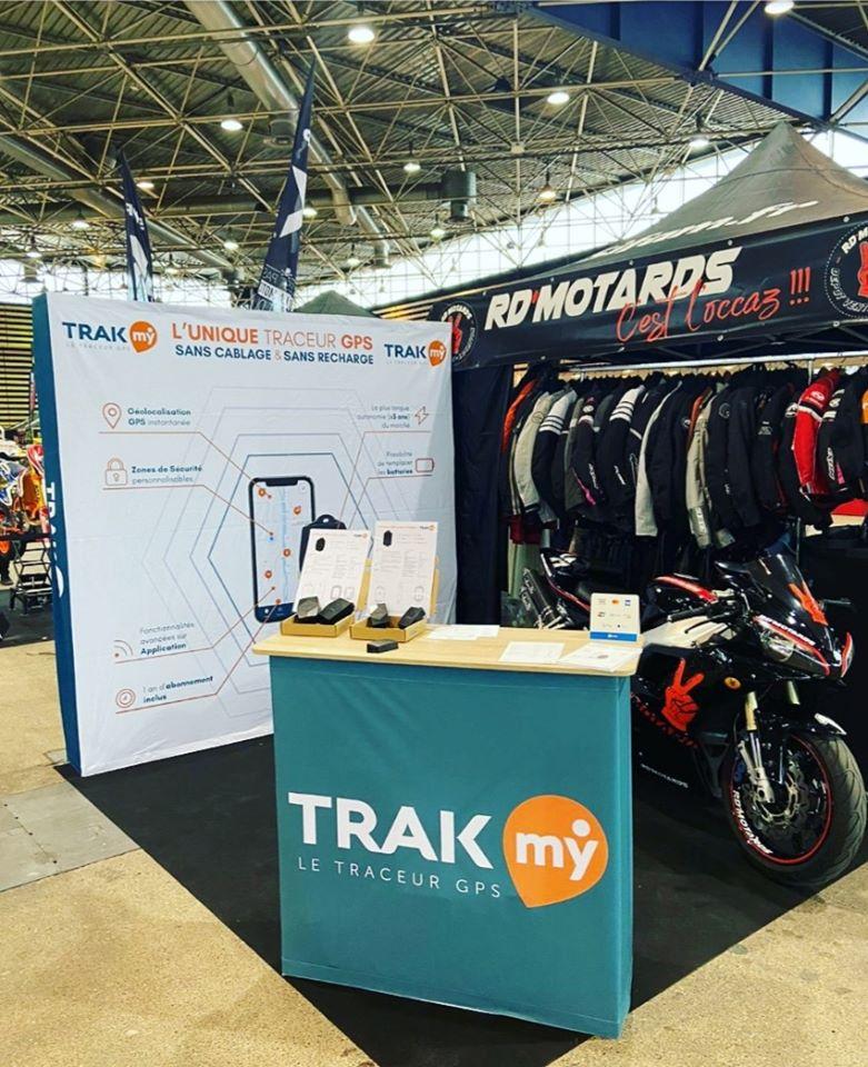 Photo du stand Trakmy lors du salon du 2 roues à Lyon