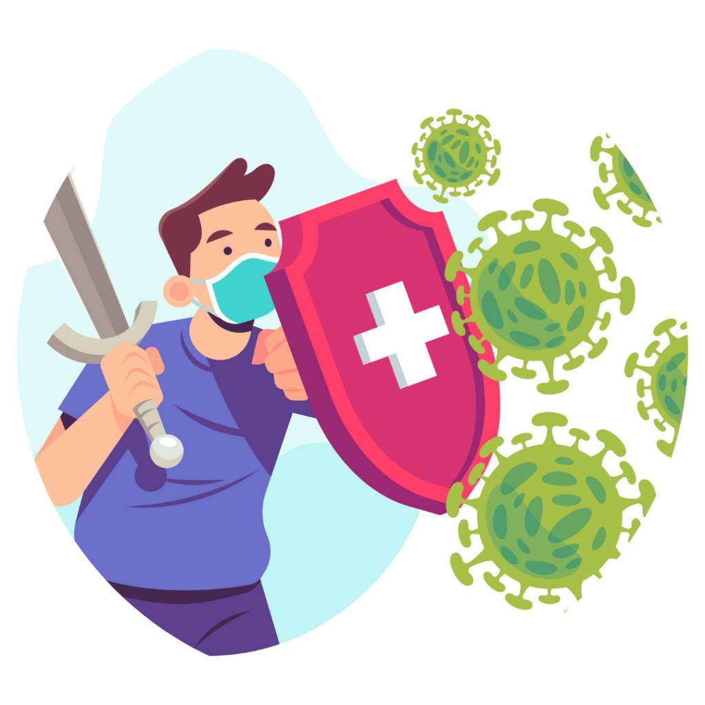 personnage combat le virus