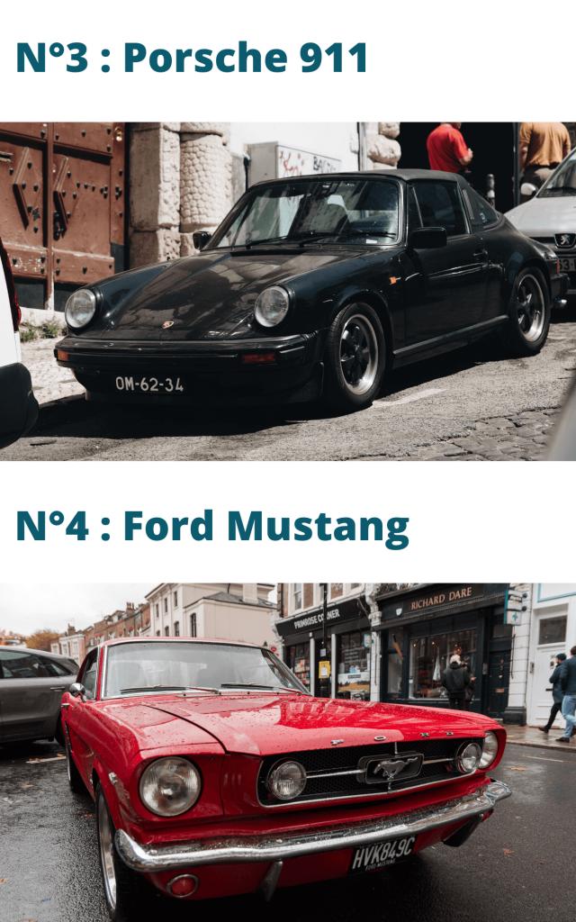 Voitures de collection numéro 3 et 4 du top 10 : porsche 911 et ford mustang