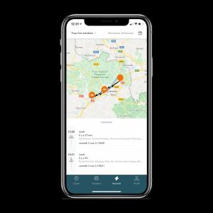 Photo de l'application mobile TRAKmy, dans l'onglet activité pour voir l'itinéraire emprunté