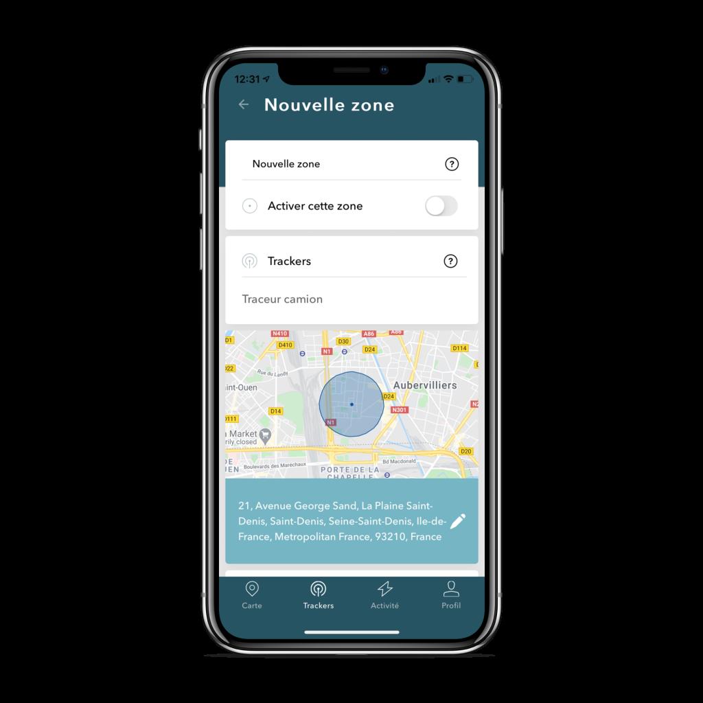 Photo de l'application mobile TRAKmy dans l'onglet mes trackers pour paramétrer les zones de sécurité