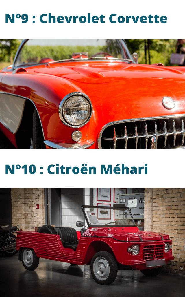 Place 9 et 10 du top 10 des véhicules de collection : la corvette et la méhari