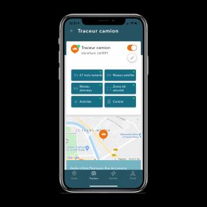 Photo de l'application mobile TRAKmy dans l'onglet trackers pour voir l'état de santé du ou des balises de géolocalisation