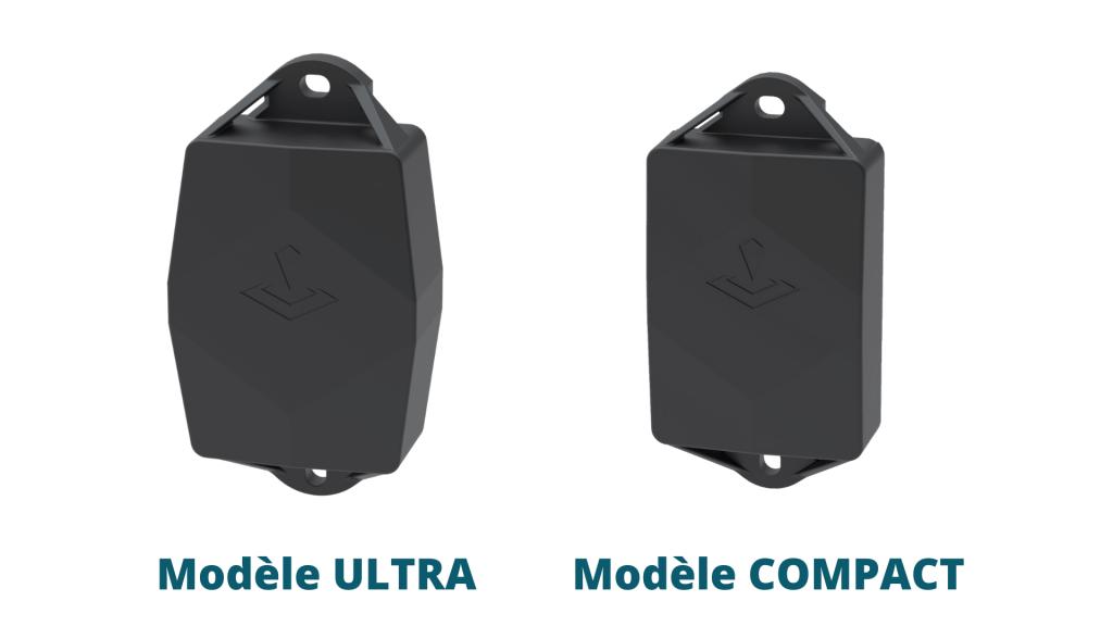 Photo des modèles ULTRA et COMPACT des traceurs GPS TRAKmy