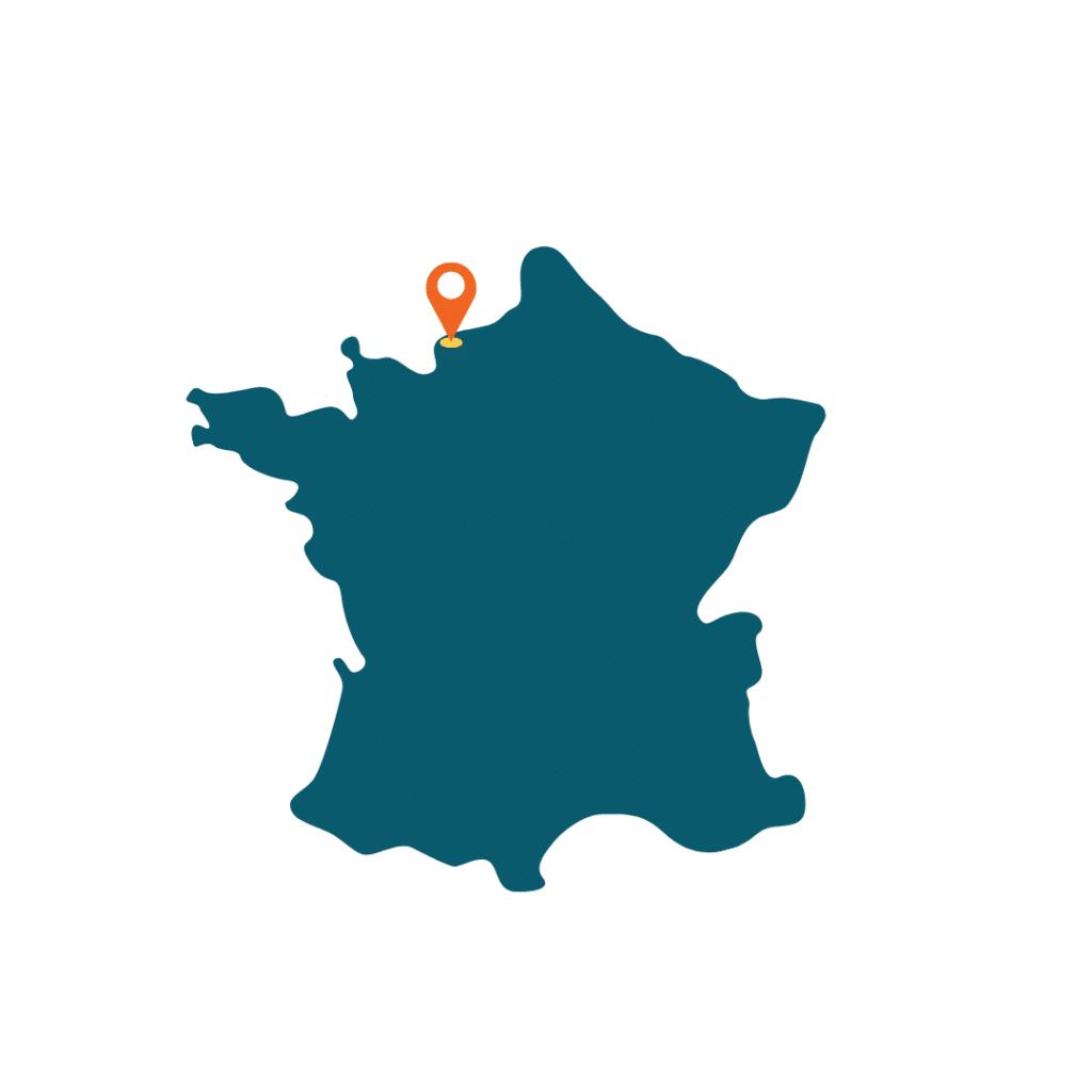 Carte de la France avec localisation d'Etretat