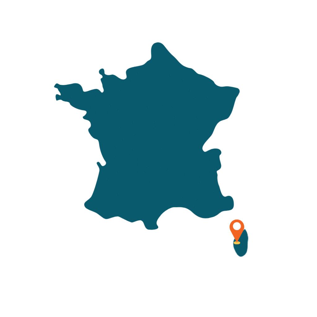 carte de la france avec localisation des calanques de Piana