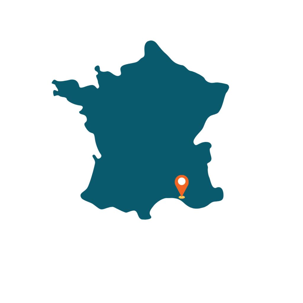 Carte de france avec la localisation de marseille